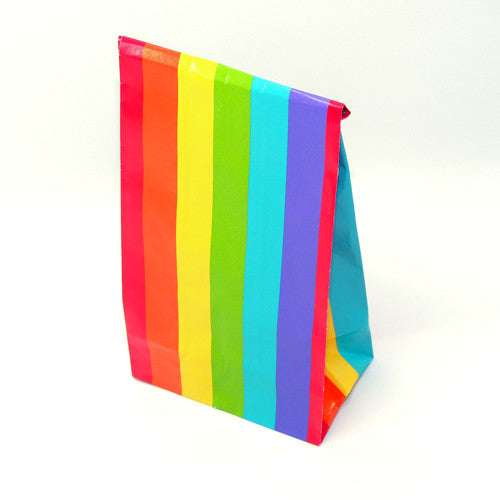 "12 Colorful striped bags 3"" x 6 1/2"""