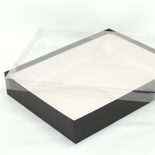 Black box w/ clear vinyl lid 11 1/4 x 8 3/4 x 2""
