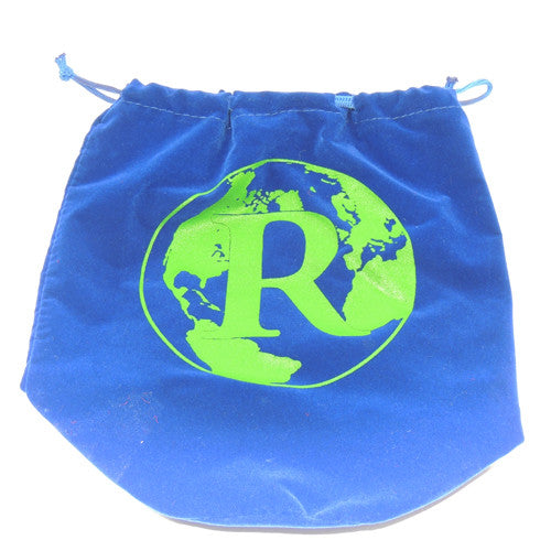 Blue velvet drawstring bag with globe initial 8 x 8 x 5""