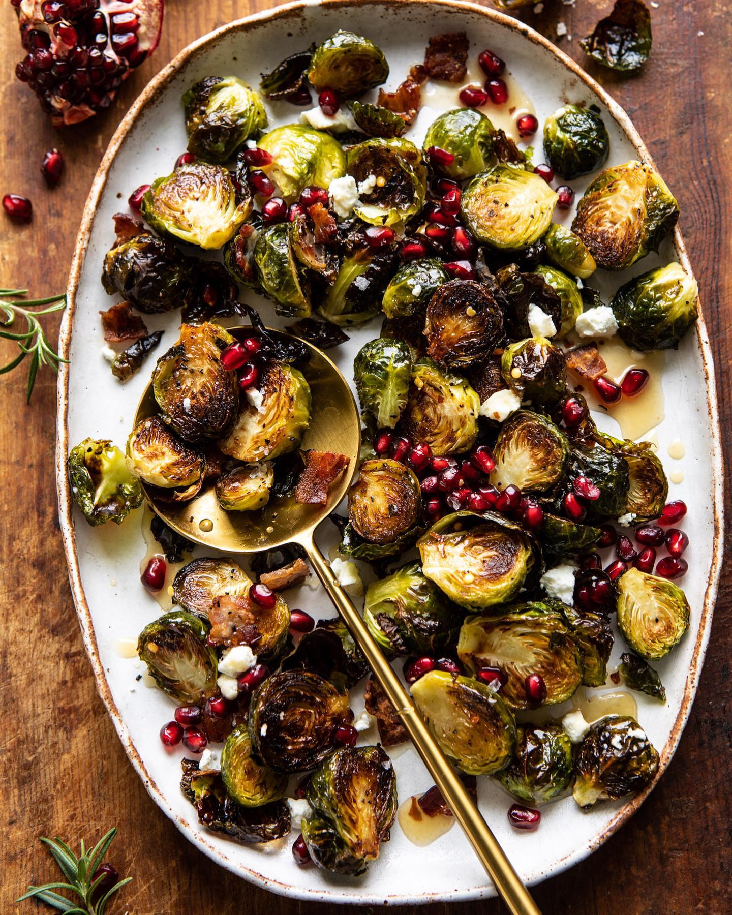 Roasted Bacon Brussels Sprouts with Salted Honey recipe from @halfbakedharvest