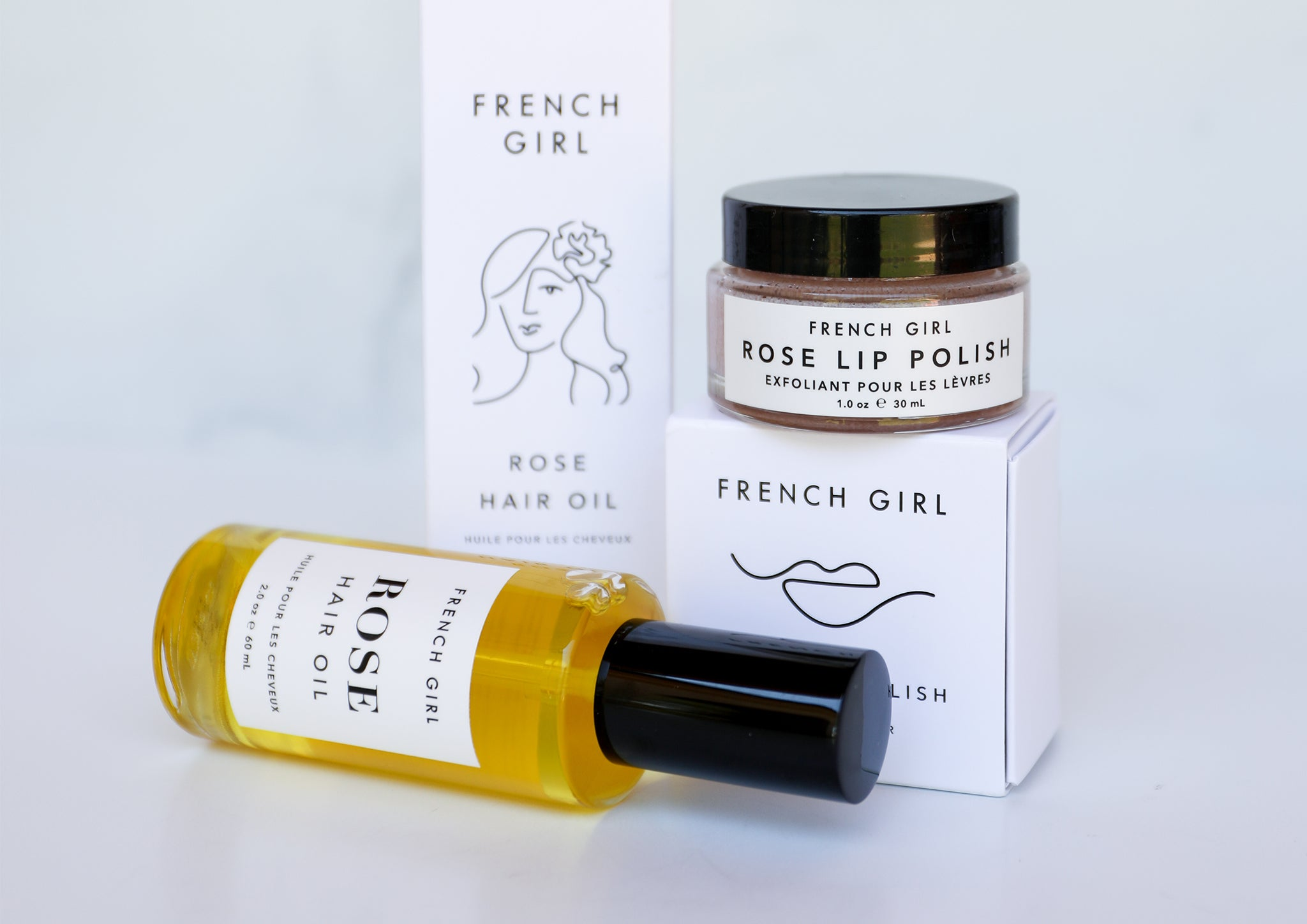 Assorted beauty and skincare products from French Girl organics brand