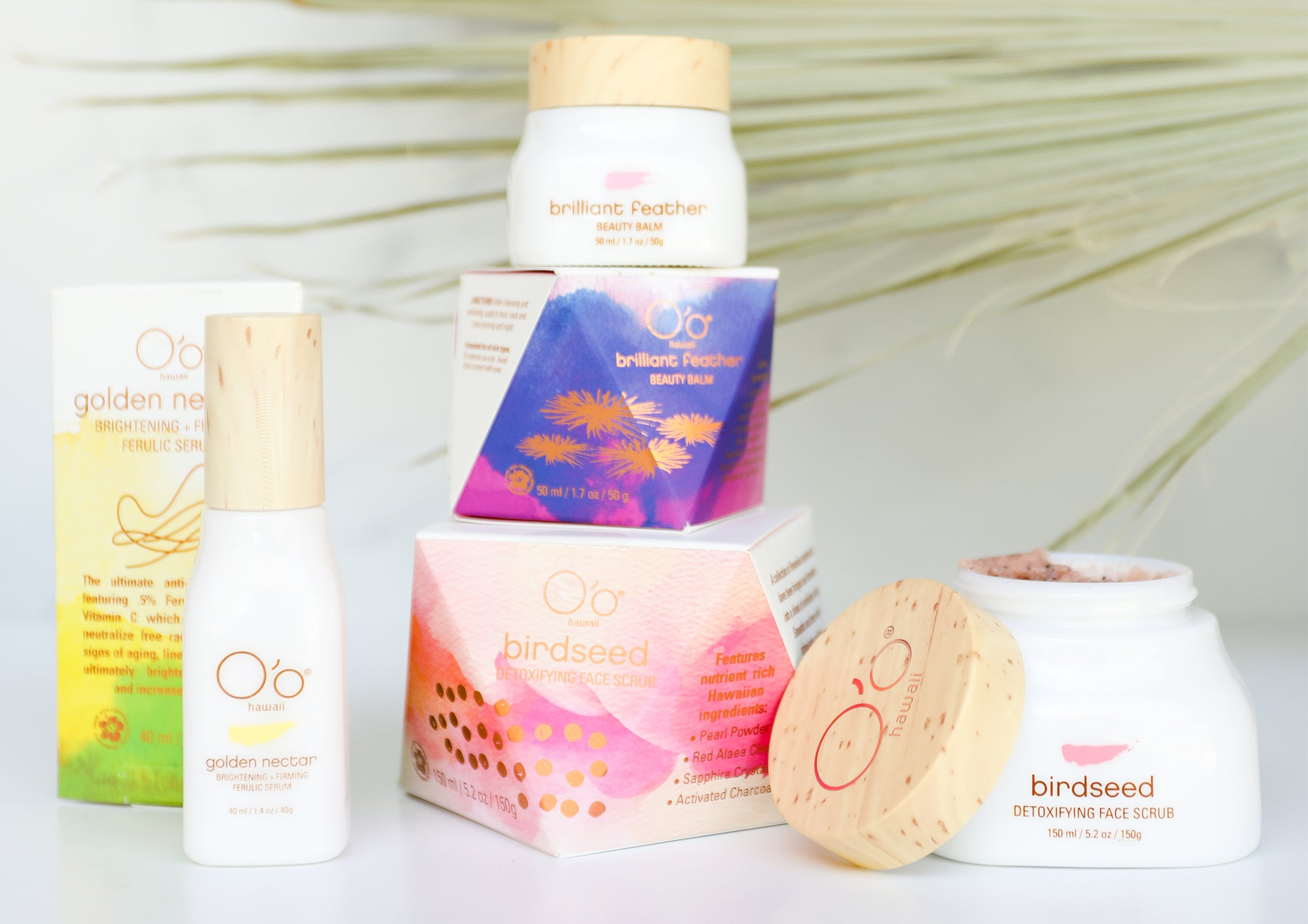 Image of assorted O'o Hawaii beauty and skincare products