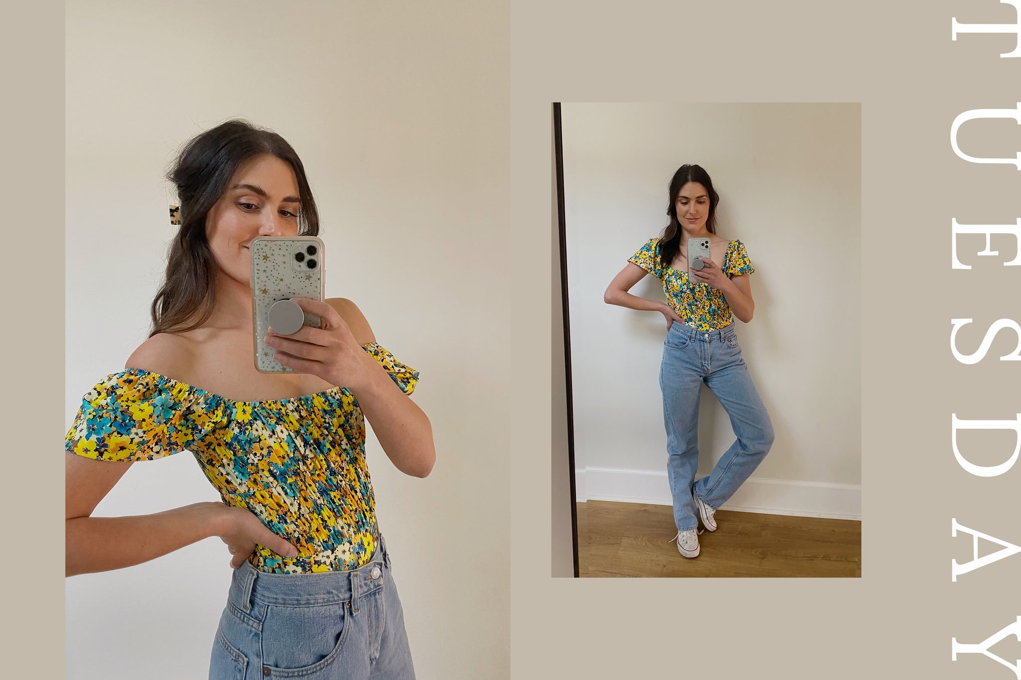 woman posing in floral top and jeans