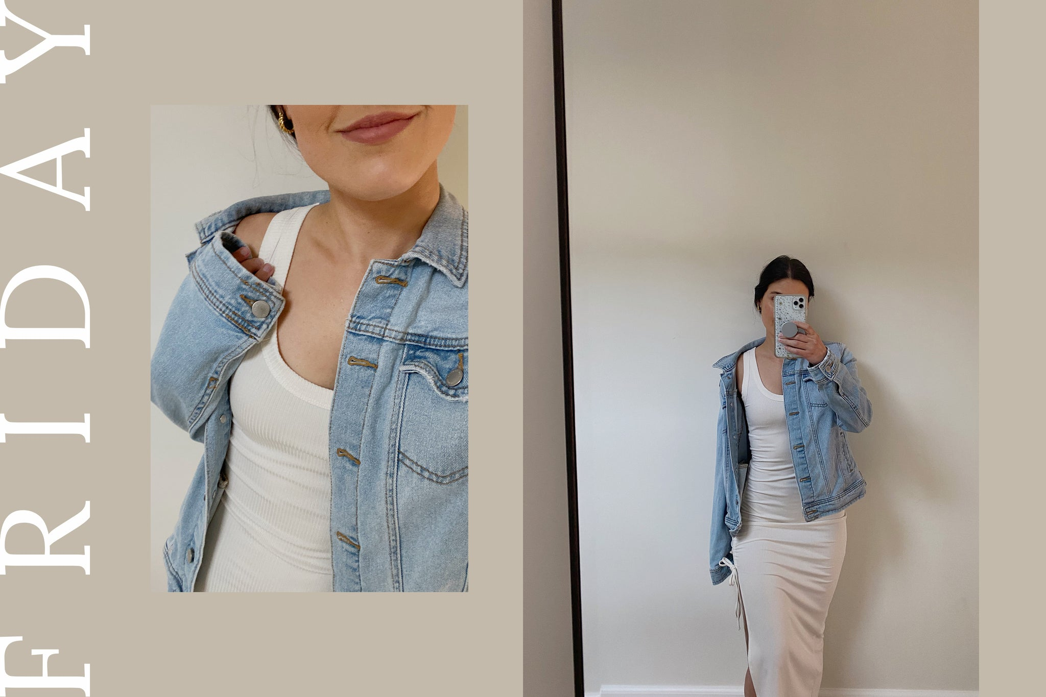 woman posing in a dress and denim jacket