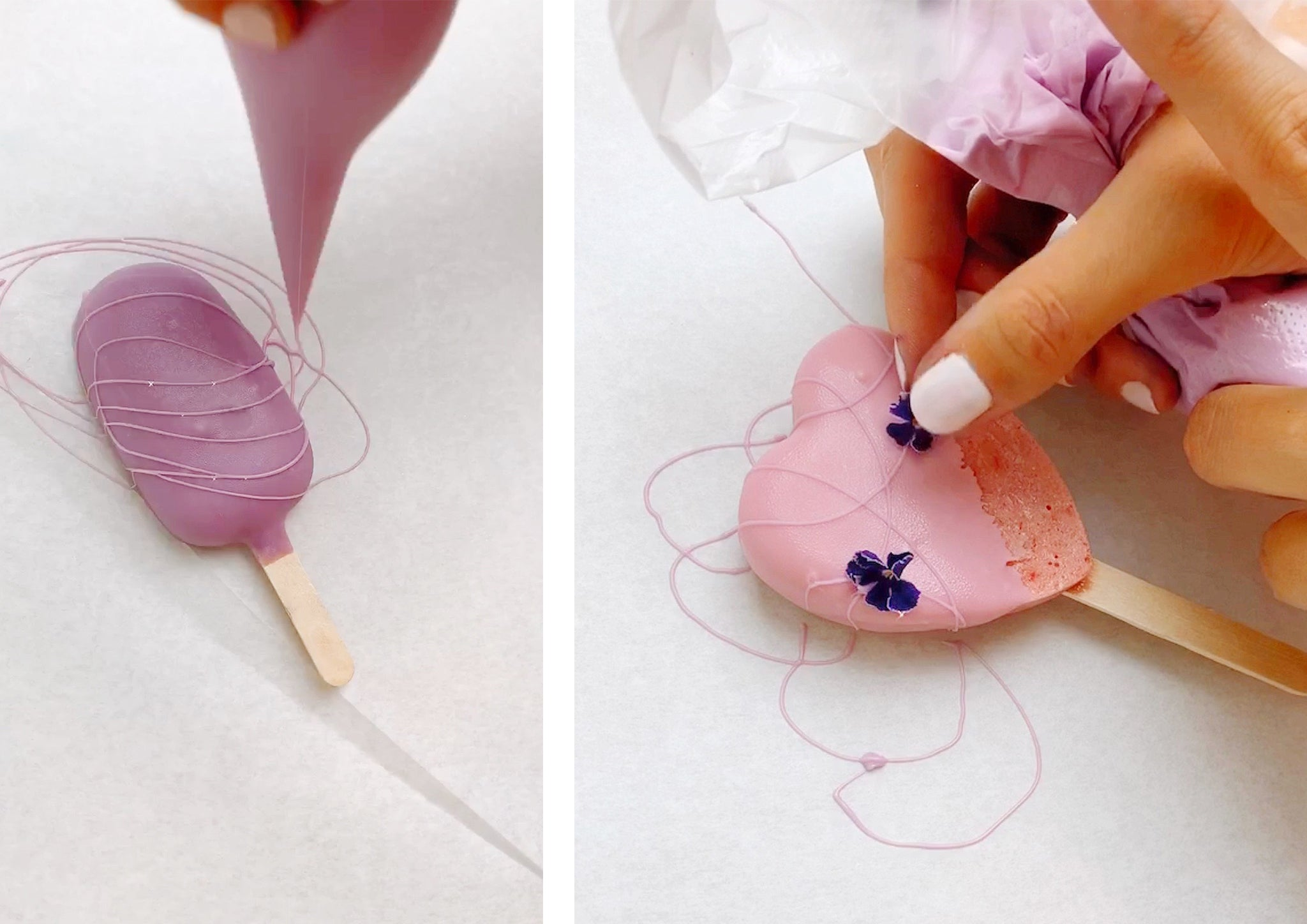 decorating popsicles with chocolate and edible flowers