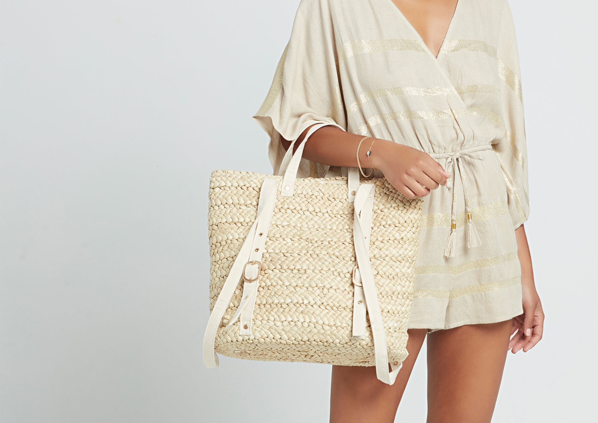 LSPACE Summer Days straw backpack