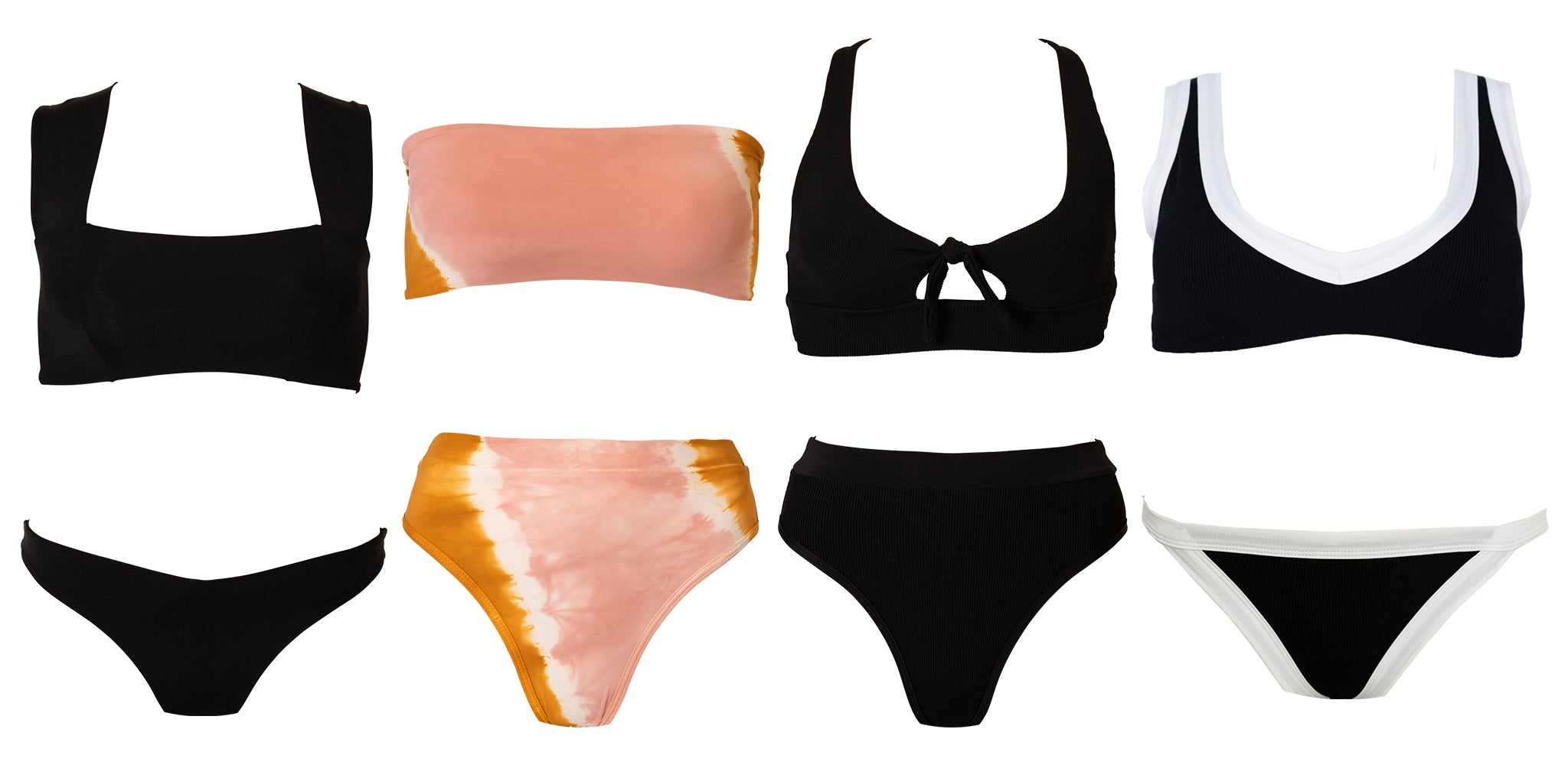 Assorted L*Space swimsuits that are flattering for a pear-shaped body