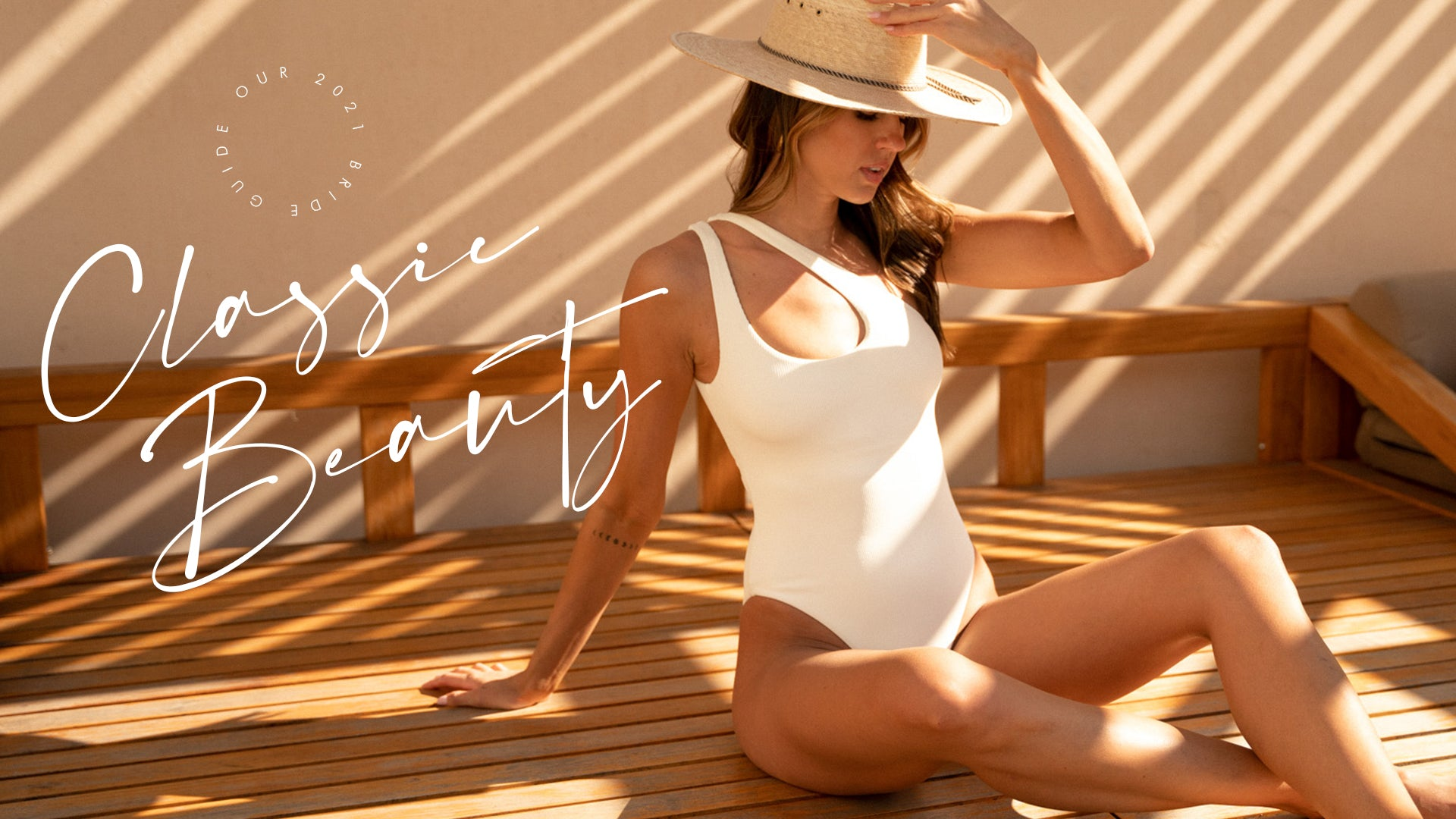 text graphic of a woman in a white bathing suit