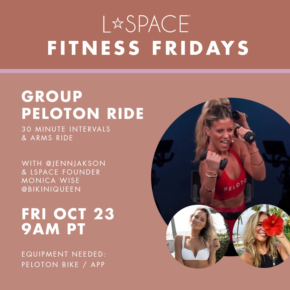 L*Space fitness fridays flyer featuring information about our group Peloton ride