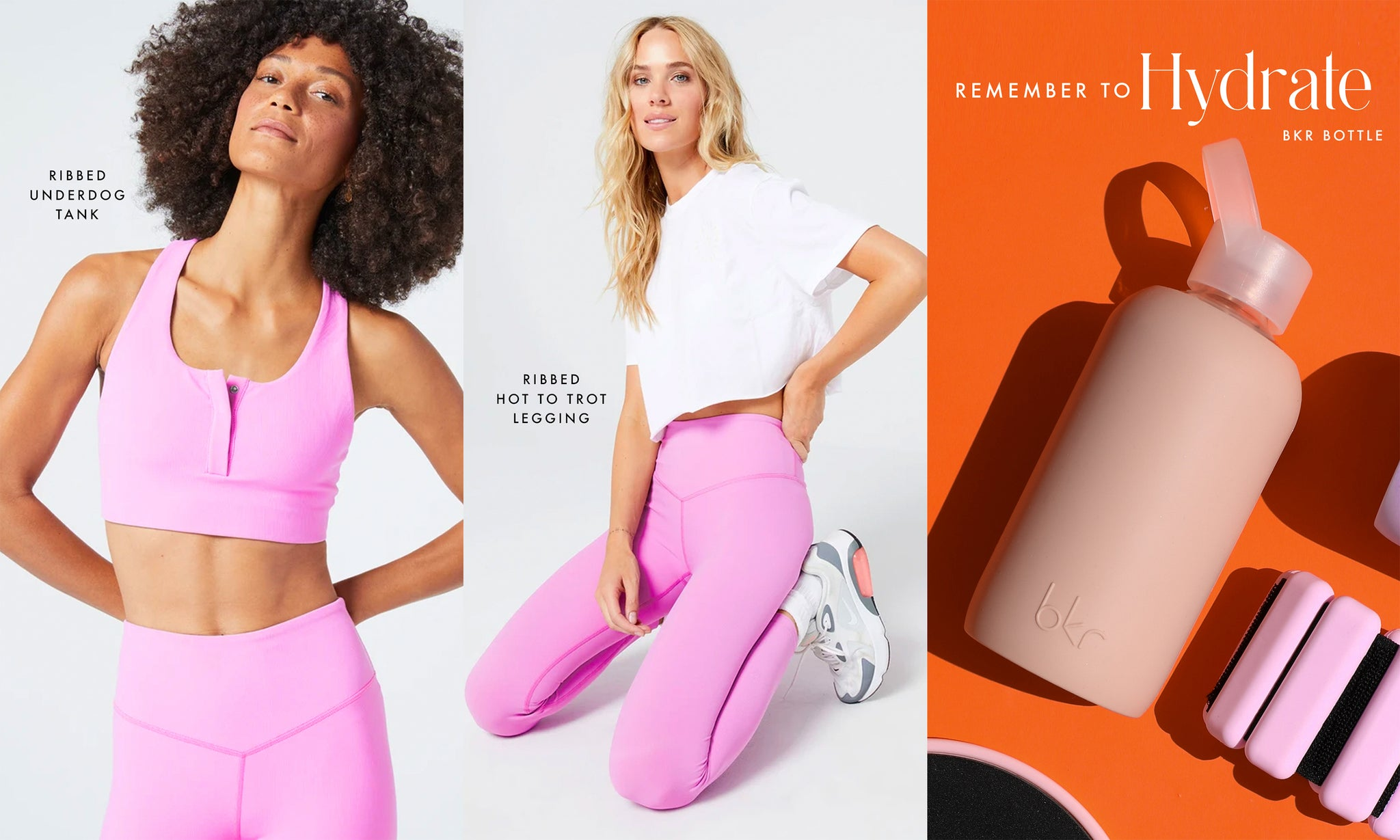 collage with activewear models