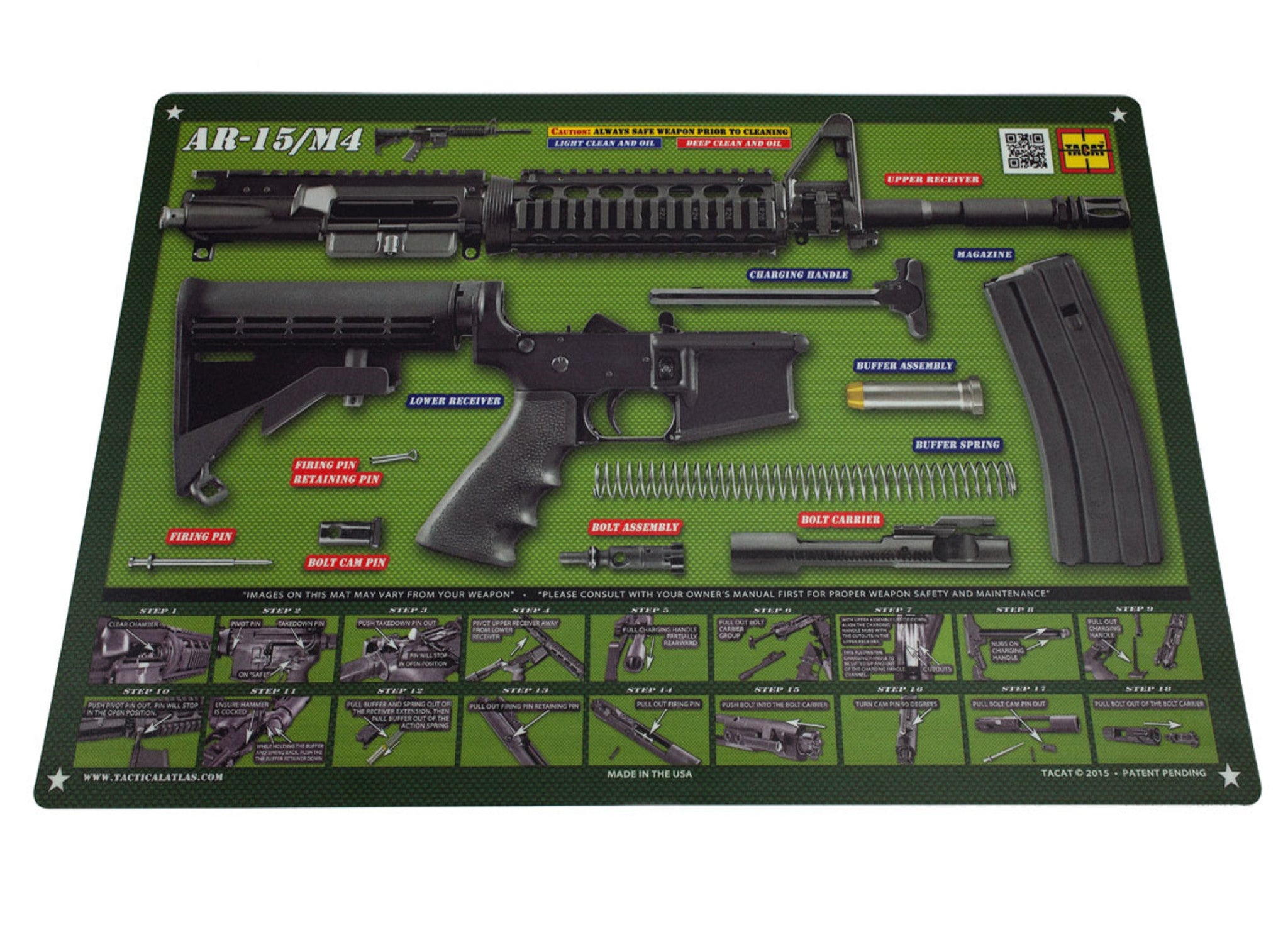 OD Green AR15 Padded Gun Cleaning Mat by Tactical Atlas