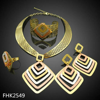 FOUR PIECE 18K GOLD PLATED NECKLACE SETS