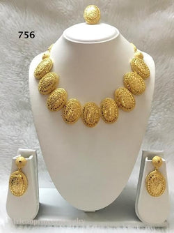 THREE PIECE INDIAN / AFRICAN GOLD PLATED NECKLACE SET.