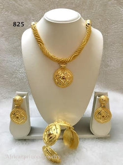 THREE PIECE INDIAN /AFRICAN GOLD PLATED NECKLACE SET