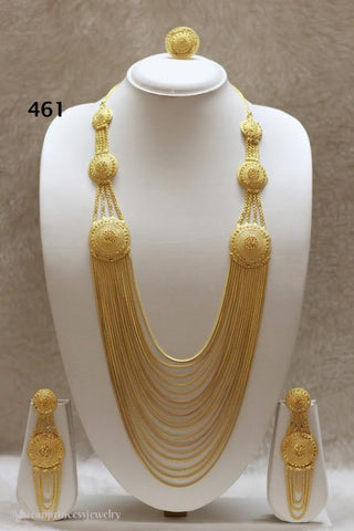 THREE PIECE INDIAN / AFRICAN GOLD PLATED NECKLACE