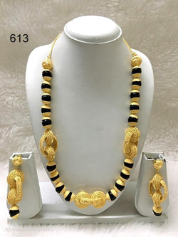 THREE PIECE INDIAN / AFRICAN GOLD PLATED NECKLACE SET