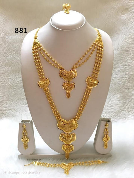 THREE PIECE INDIAN / AFRICAN GOL PLATED NECKLACE SET