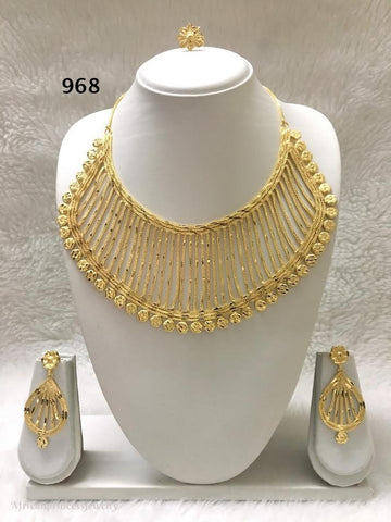 THREE PIECE INDIAN /. AFRICAN GOLD PLATED NECKLACE SET