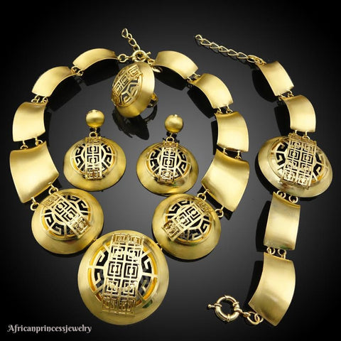 FOUR  PIECE 18K  AFRICAN GOLD PLATED NECKLACE SET