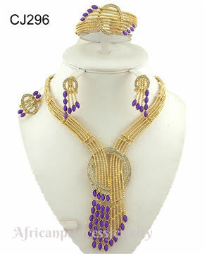 FOUR PIECE 18K GOLD PLATED NECKLACE SET
