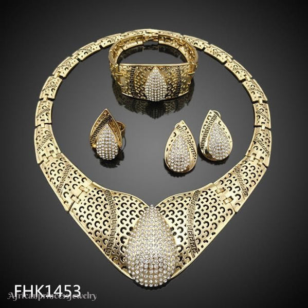 FOUR PIECE 18K  GOLD PLATED AFRICAN NECKLACE SET