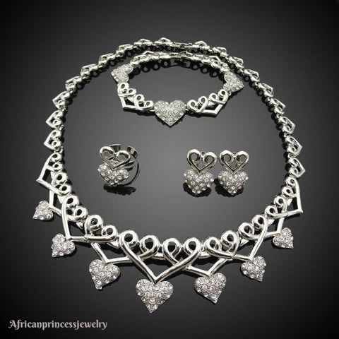 FOUR PIECE18K  WHITE GOLD PLATED SILVER NECKLACE SET