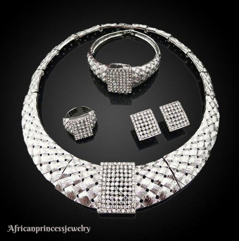 FOUR PIECE 18K WHITE GOLD SILVER PLATED JEWELRY SET