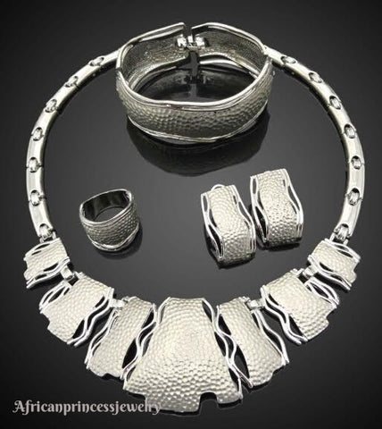 FOUR PIECE 18K WHITE GOLD PLATED NECKLACE SET