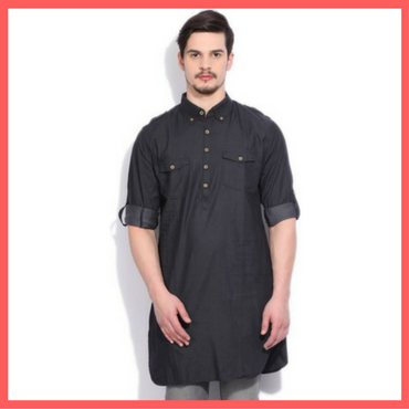 Black Kurta for Men - Flipkart - Dressprise - Holi