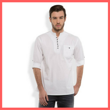 White Kurta for Men : Dressprise.com