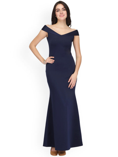 Eavan Women Navy Blue Solid Maxi Dress