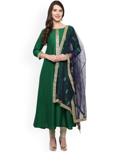 Ahalyaa Green & Blue A-Line Kurta with Dupatta