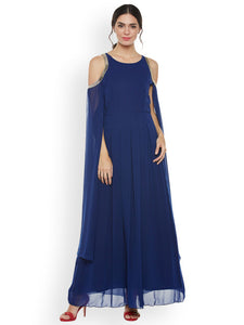 Athena Women Blue Solid Maxi Dress