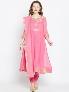 Biba Women Pink Woven Design Kurta with Churidar & Dupatta