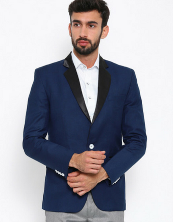 Blue Single-Breasted Partywear Blazer