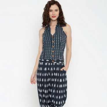Desi Weaves Navy Printed Jodhpuri Jumpsuit