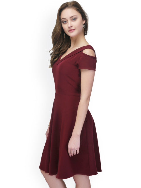 Eavan Women Burgundy Fit and Flare Dress