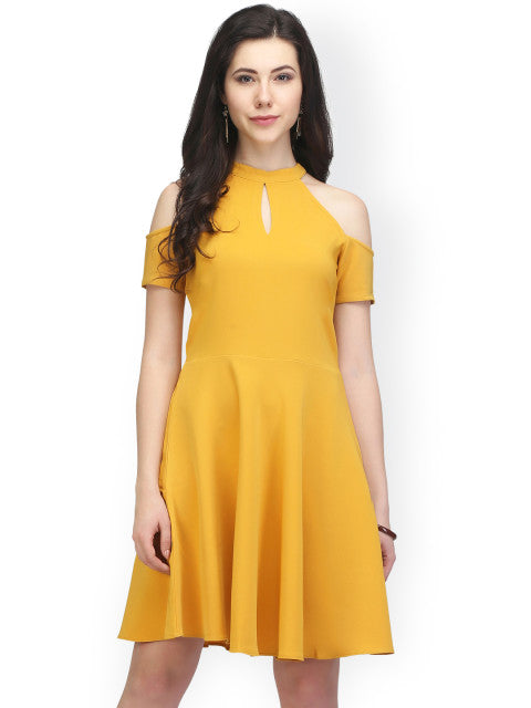 Eavan Women Mustard Yellow Solid Fit and Flare Dress
