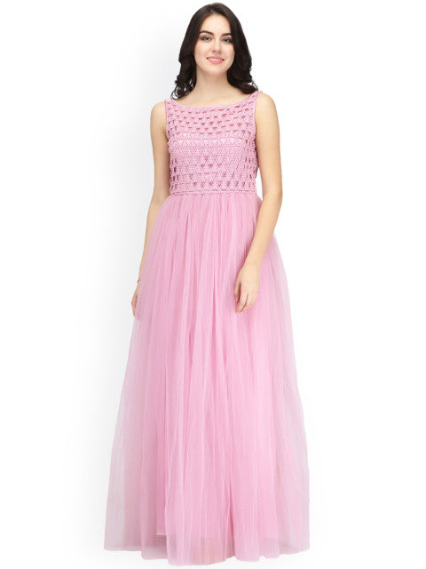Eavan Women Pink Embellished Maxi Dress
