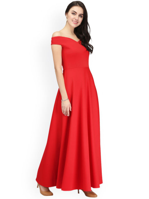 Eavan Women Red Solid Maxi Off-Shoulder Dress