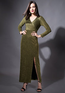 Gold Front Slit Maxi Dress