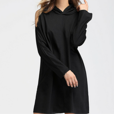 Hooded Open Shoulder Sweatshirt Dress