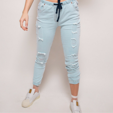Ripped Denim Joggers