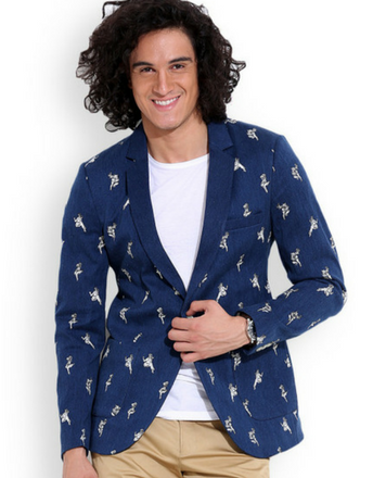 MR BUTTON Teal Blue Slim Fit Blazer