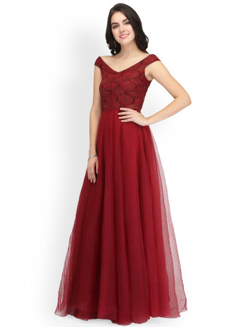 Eavan Women Maroon Self Design Maxi Dress