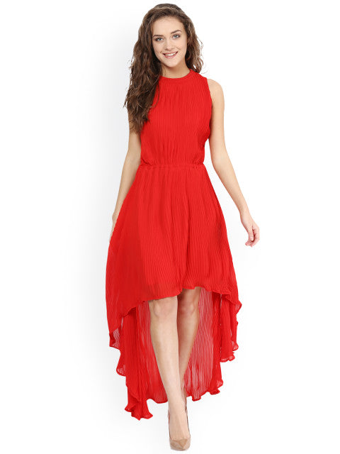 Miss Chase Women Red Solid Fit & Flare High-Low Dress