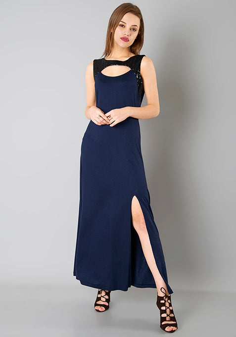 Peek-a-boo Sequin Maxi Dress - Navy Blue