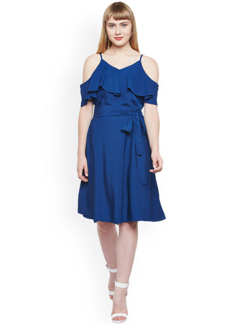 Popnetic Women Blue Solid Fit & Flare Dress