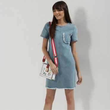 Ripped Denim T-Shirt Dress
