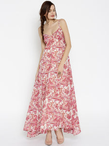 SASSAFRAS Women Pink & Beige Printed Maxi Dress